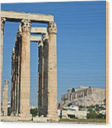 Temple Of Olympian Zeus And Acropolis In Athens Wood Print