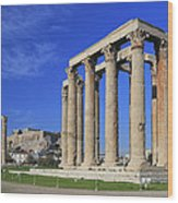 Temple Of Olympian Zeus Athens Greece Wood Print