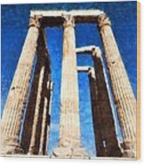 Temple Of Olympian Zeus  Wood Print