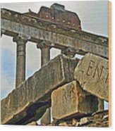 Temple Of Saturn In The Roman Forum Wood Print