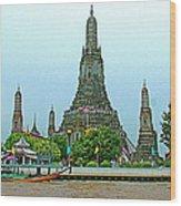 Temple Of The Dawn-wat Arun From Waterways Of Bangkok-thailand Wood Print