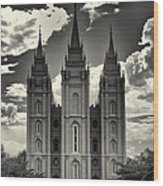 Temple Square Black And White Wood Print