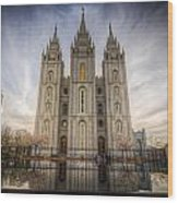 Temple Square Wood Print