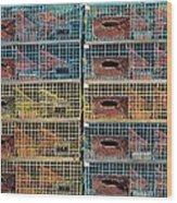 Ten Lobster Traps Wood Print