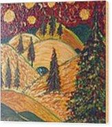 Ten Moons In Scarlet Sky Wood Print