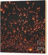 Ten Thousand Lantern Launch Wood Print