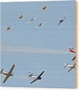 Ten Warbird Flyby Wood Print