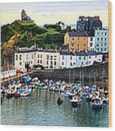 Tenby Harbour Panorama Wood Print