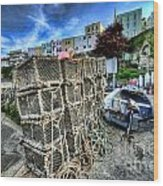 Tenby Lobster Traps Wood Print