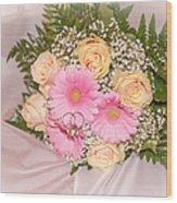 Tender Bridal Bouquet Witn Wedding Rings Wood Print