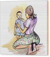 Tender Mother Wood Print