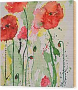 Tender Poppies - Flower Wood Print by Ismeta Gruenwald