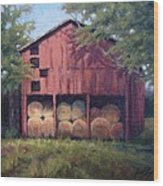 Tennessee Barn With Hay Bales Wood Print by Janet King