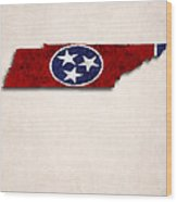 Tennessee Map Art With Flag Design Wood Print