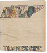 Tennessee Map Vintage Watercolor Wood Print
