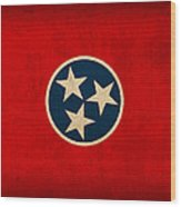 Tennessee State Flag Art On Worn Canvas Wood Print