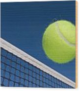Tennis Ball And Net Wood Print