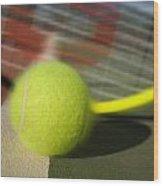 Tennis Ball And Racquet Wood Print