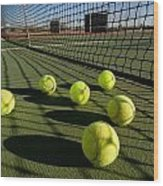 Tennis Balls And Court Wood Print by Joe Belanger
