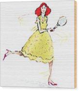 Tennis Lady Wood Print