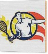 Tennis Player Flaming Racquet Ball Retro Wood Print