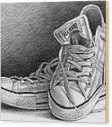 Tennis Shoes Wood Print