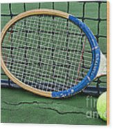 Tennis - Vintage Tennis Racquet Wood Print