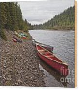 Tents And Canoes At Mcquesten River Yukon Canada Wood Print