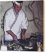 Teppanyaki Cooking  Wood Print