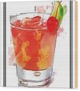 Tequila Sunrise Cocktail Marker Sketch Wood Print