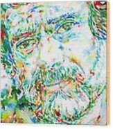 Terence Mckenna - Watercolor Portrait Wood Print