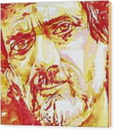 Terence Mckenna Watercolor Portrait.2 Wood Print
