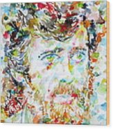 Terence Mckenna - Watercolor Portrait.3 Wood Print