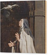 Teresa Of Avilas Vision Of A Dove Wood Print