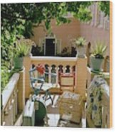 Terrace At A Guest House At Waterloo Wood Print