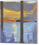 Terrace Sunset Wood Print