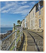 Terraced Cottages At Mousehole Wood Print
