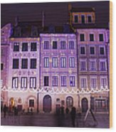 Terraced Historic Houses At Night In Warsaw Wood Print