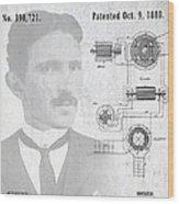 Tesla A / C Current Patent Art 1888 Wood Print