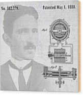Tesla And The Electro Magnetic Motor Patent Wood Print