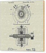 Tesla Generator 1891 Patent Art Wood Print by Prior Art Design