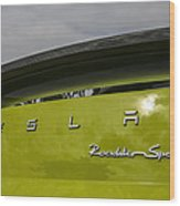 Tesla Roadster Wood Print