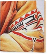 Teton Dacota Indian Woman Detail Wood Print