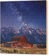 Teton Nights Wood Print by Darren  White
