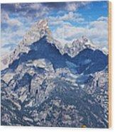 Teton Range And Two Trees Wood Print