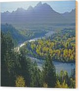 2m9301-teton Range From Snake River Overlook Wood Print
