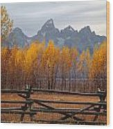 1m9354-teton Range In Autumn From Jackson Hole Ranch Country Wood Print