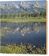 4m9310-teton Range Reflection, Blacktail Pond, Wy Wood Print