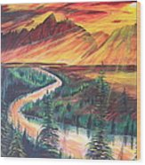 Teton Sunset Wood Print
