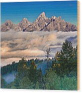 Tetons Above The Clouds Wood Print